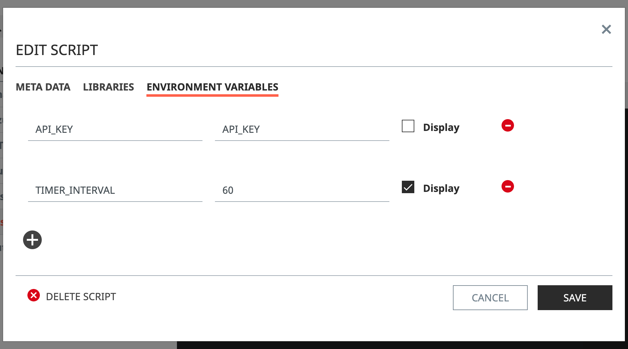 Select the setting tab and select the environment variable in the displayed modal window. You can see that you are entering Environment Variables.